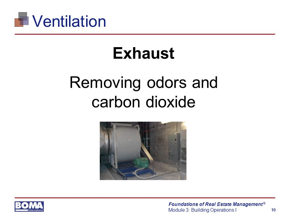 Foundations of Real Estate Management Module 3: Building Operations I 10 ® Ventilation Exhaust Removing odors and carbon dioxide