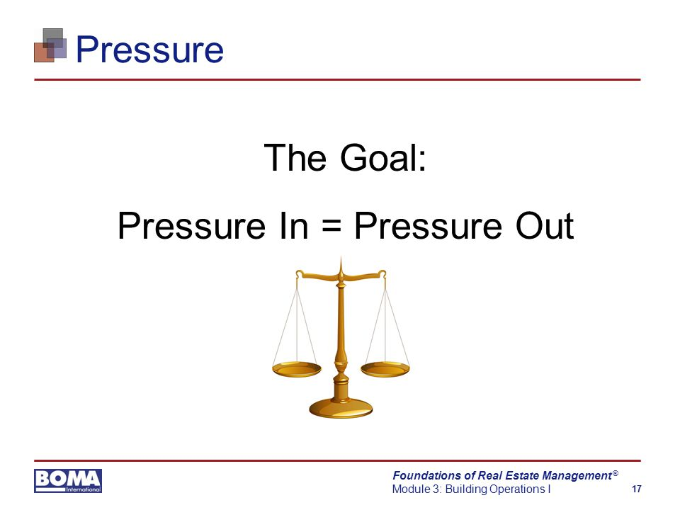 Foundations of Real Estate Management Module 3: Building Operations I 17 ® Pressure The Goal: Pressure In = Pressure Out