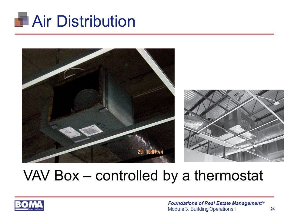 Foundations of Real Estate Management Module 3: Building Operations I 24 ® Air Distribution VAV Box – controlled by a thermostat