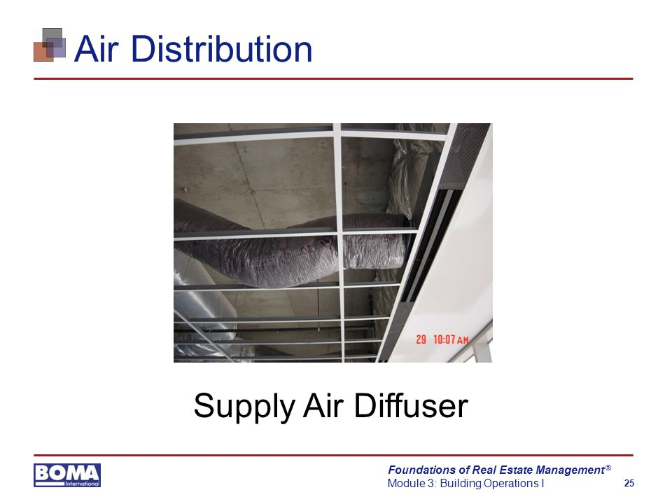 Foundations of Real Estate Management Module 3: Building Operations I 25 ® Air Distribution Supply Air Diffuser