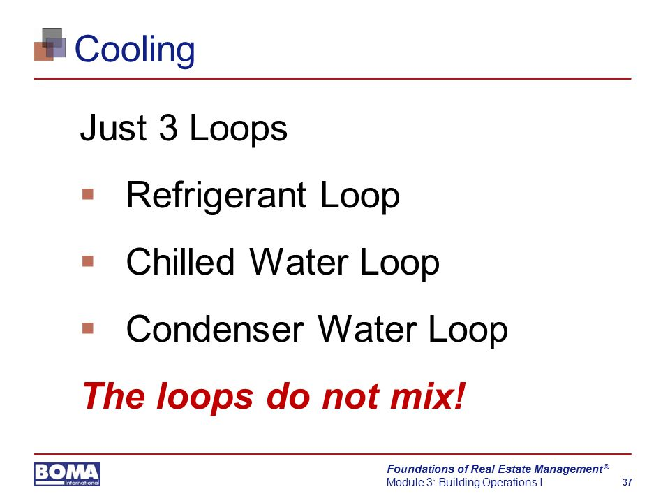 Foundations of Real Estate Management Module 3: Building Operations I 37 ® Cooling Just 3 Loops  Refrigerant Loop  Chilled Water Loop  Condenser Water Loop The loops do not mix!