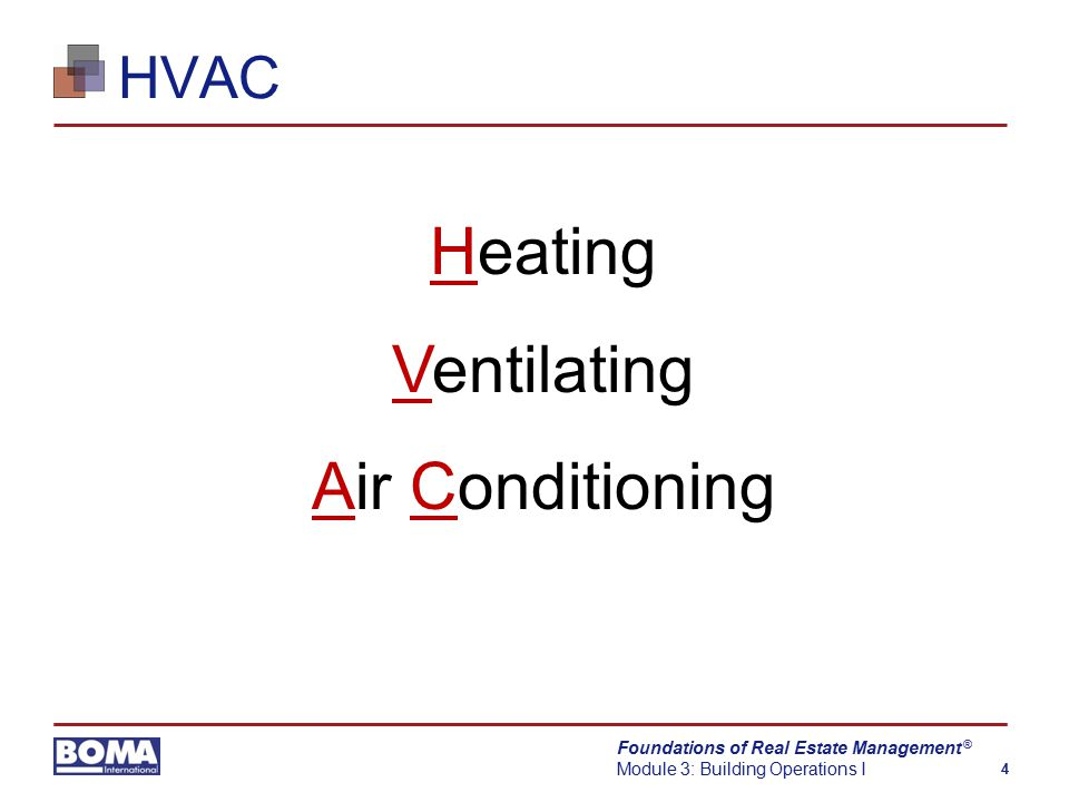 Foundations of Real Estate Management Module 3: Building Operations I 4 ® HVAC Heating Ventilating Air Conditioning