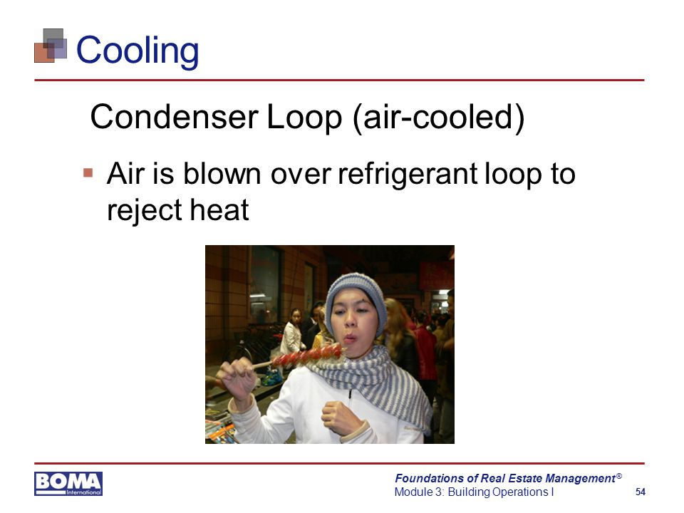 Foundations of Real Estate Management Module 3: Building Operations I 54 ® Cooling Condenser Loop (air-cooled)  Air is blown over refrigerant loop to reject heat
