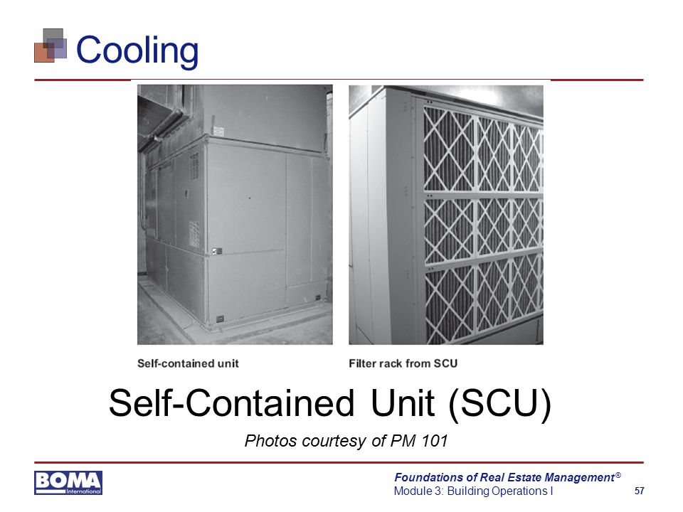 Foundations of Real Estate Management Module 3: Building Operations I 57 ® Cooling Self-Contained Unit (SCU) Photos courtesy of PM 101