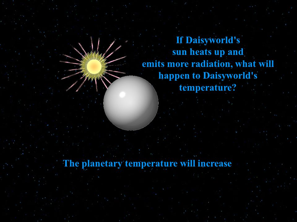 If Daisyworld s sun heats up and emits more radiation, what will happen to Daisyworld s temperature.