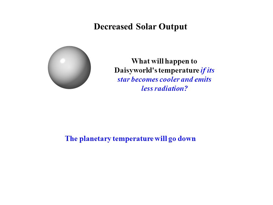 Decreased Solar Output What will happen to Daisyworld s temperature if its star becomes cooler and emits less radiation.