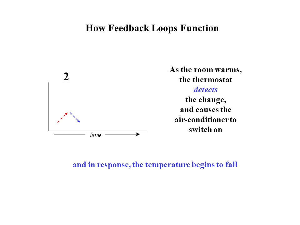 How Feedback Loops Function As the room warms, the thermostat detects the change, and causes the air-conditioner to switch on time 2 and in response, the temperature begins to fall