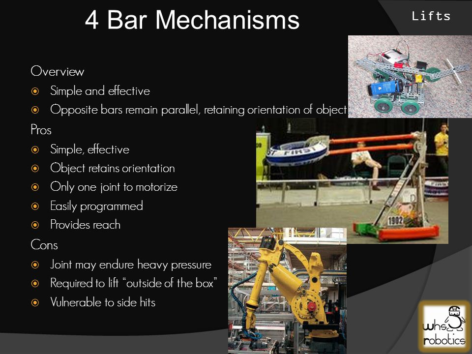 Lifts  Four Bar Mechanisms  Rotary Jointed Arms  Scissor Lifts