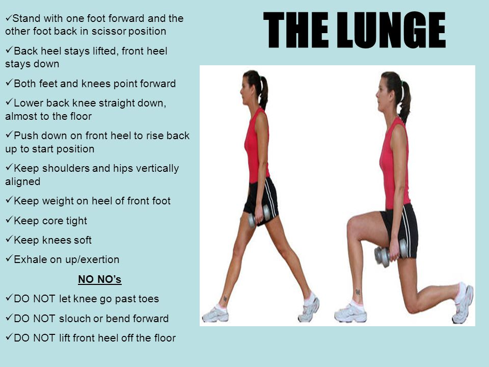 THE LUNGE Stand with one foot forward and the other foot back in scissor position Back heel stays lifted, front heel stays down Both feet and knees point forward Lower back knee straight down, almost to the floor Push down on front heel to rise back up to start position Keep shoulders and hips vertically aligned Keep weight on heel of front foot Keep core tight Keep knees soft Exhale on up/exertion NO NO's DO NOT let knee go past toes DO NOT slouch or bend forward DO NOT lift front heel off the floor