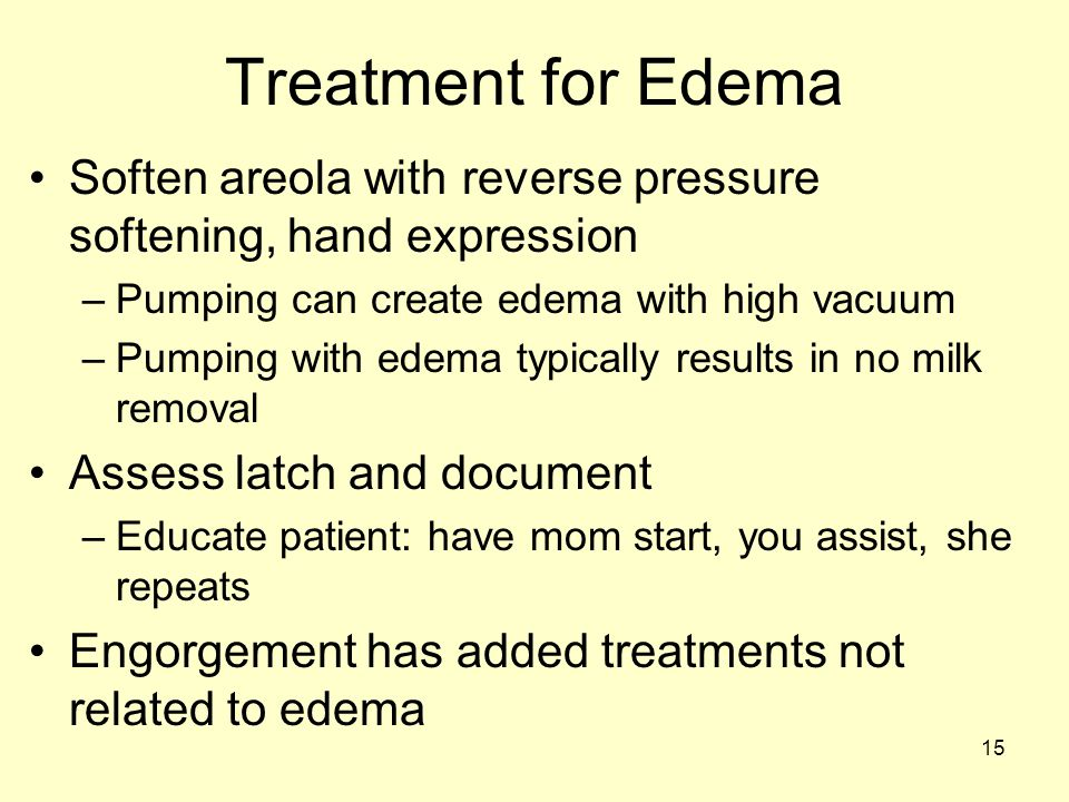 15 Treatment for Edema Soften areola with reverse pressure softening, hand expression –Pumping can create edema with high vacuum –Pumping with edema typically results in no milk removal Assess latch and document –Educate patient: have mom start, you assist, she repeats Engorgement has added treatments not related to edema