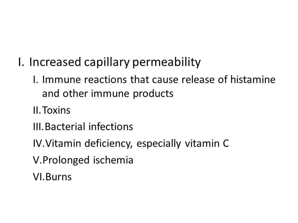 I.Increased capillary permeability I.Immune reactions that cause release of histamine and other immune products II.Toxins III.Bacterial infections IV.Vitamin deficiency, especially vitamin C V.Prolonged ischemia VI.Burns