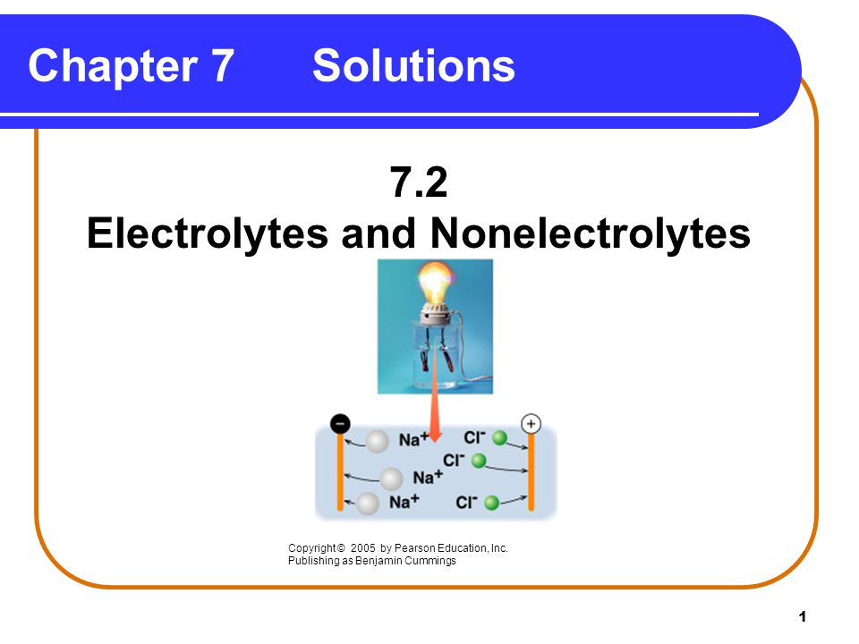 1 7.2 Electrolytes and Nonelectrolytes Chapter 7 Solutions Copyright © 2005 by Pearson Education, Inc.