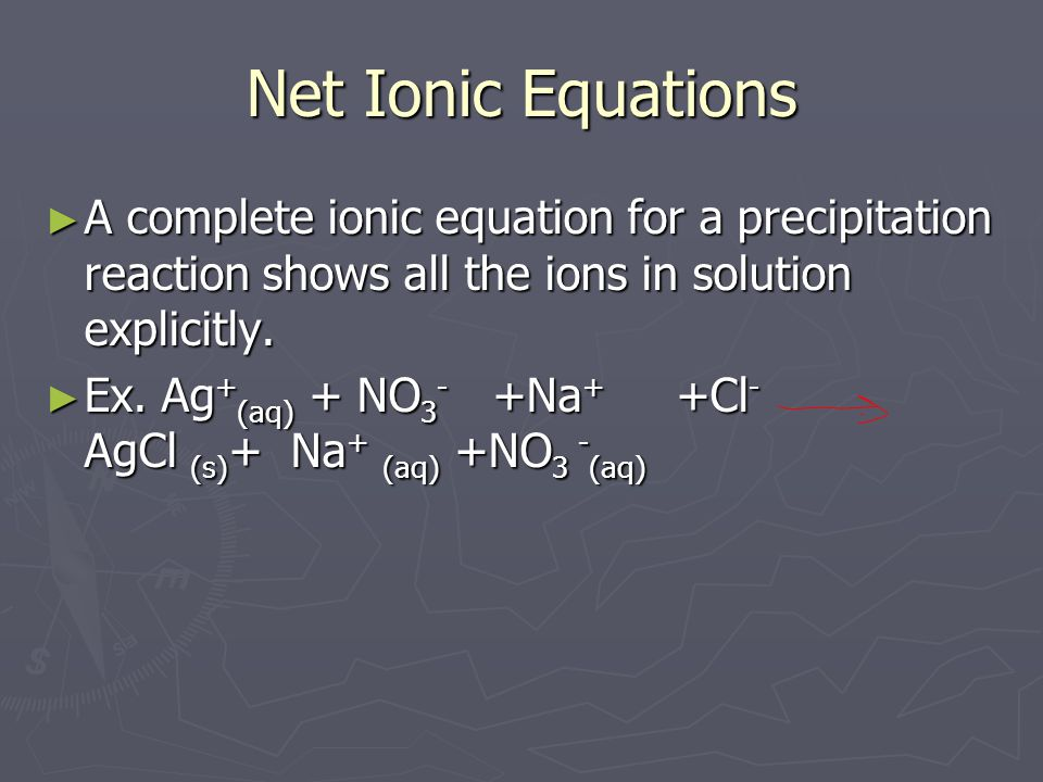 Net Ionic Equations ► A complete ionic equation for a precipitation reaction shows all the ions in solution explicitly.