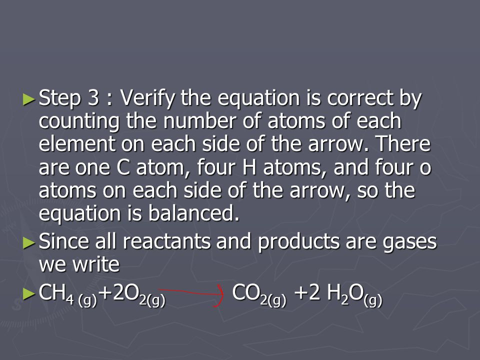 ► Step 3 : Verify the equation is correct by counting the number of atoms of each element on each side of the arrow.