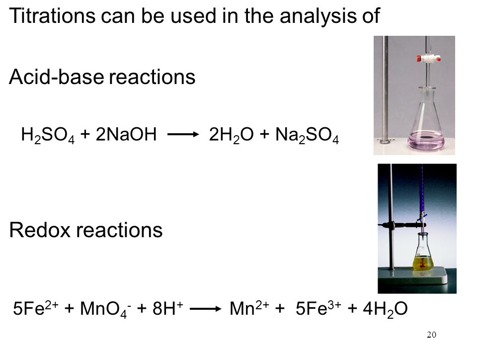 20 Titrations can be used in the analysis of Acid-base reactions Redox reactions H 2 SO 4 + 2NaOH 2H 2 O + Na 2 SO 4 5Fe 2+ + MnO H + Mn Fe H 2 O
