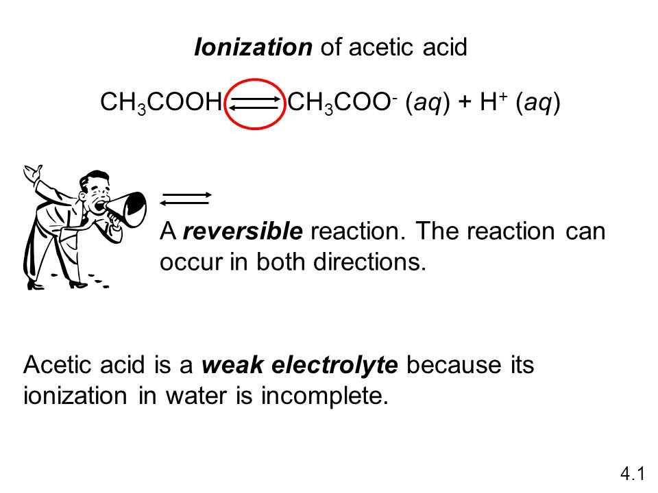Ionization of acetic acid CH 3 COOH CH 3 COO - (aq) + H + (aq) 4.1 A reversible reaction.