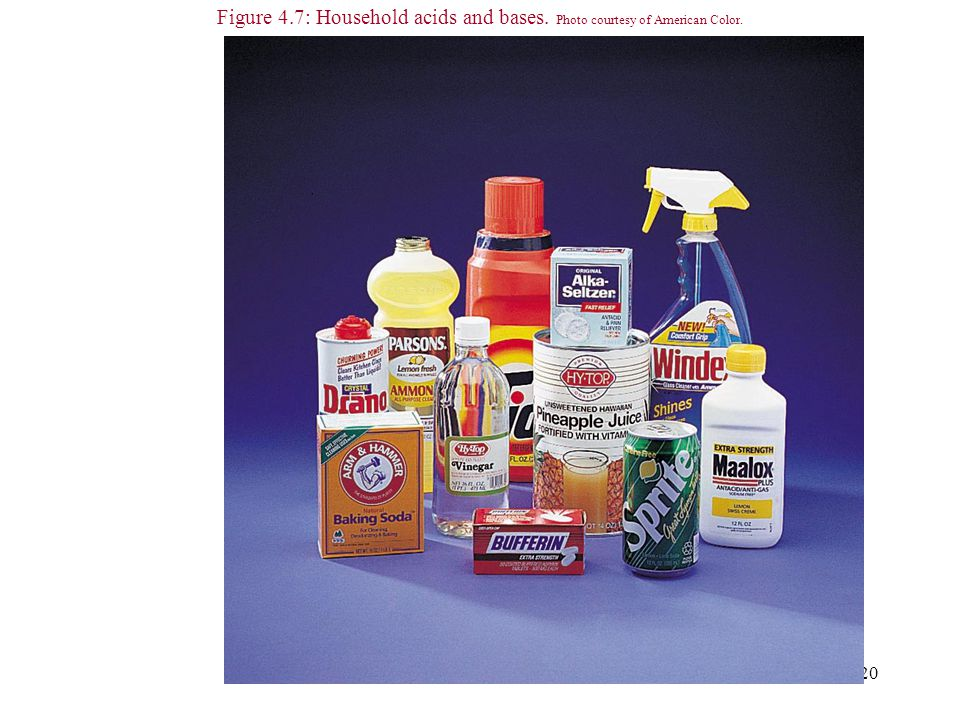20 Figure 4.7: Household acids and bases. Photo courtesy of American Color.