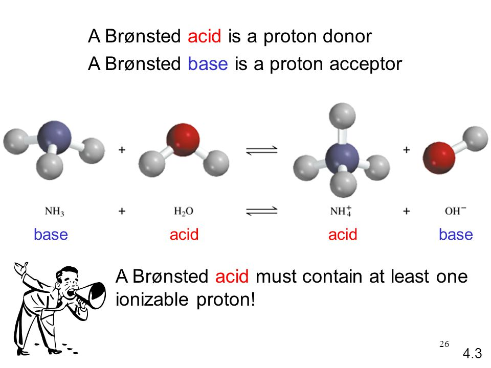 26 A Brønsted acid is a proton donor A Brønsted base is a proton acceptor acidbaseacidbase 4.3 A Brønsted acid must contain at least one ionizable proton!