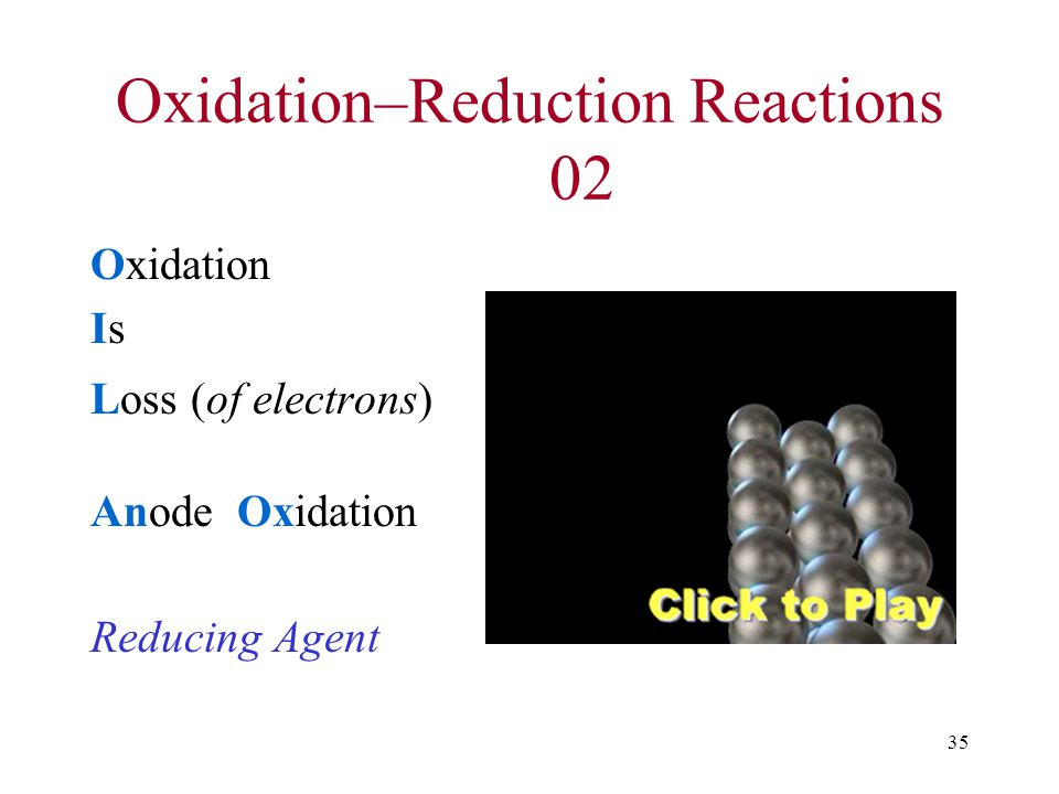 35 Oxidation–Reduction Reactions 02 Oxidation Is Loss (of electrons) Anode Oxidation Reducing Agent