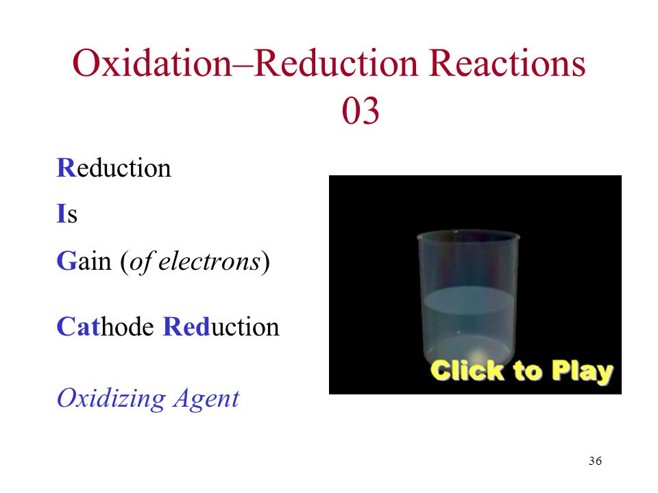 36 Oxidation–Reduction Reactions 03 Reduction Is Gain (of electrons) Cathode Reduction Oxidizing Agent