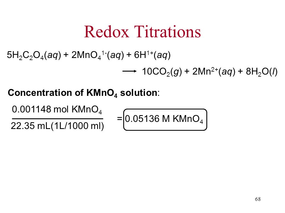 68 Redox Titrations 5H 2 C 2 O 4 (aq) + 2MnO 4 1- (aq) + 6H 1+ (aq) 10CO 2 (g) + 2Mn 2+ (aq) + 8H 2 O(l) Concentration of KMnO 4 solution: = M KMnO mL(1L/1000 ml) mol KMnO 4