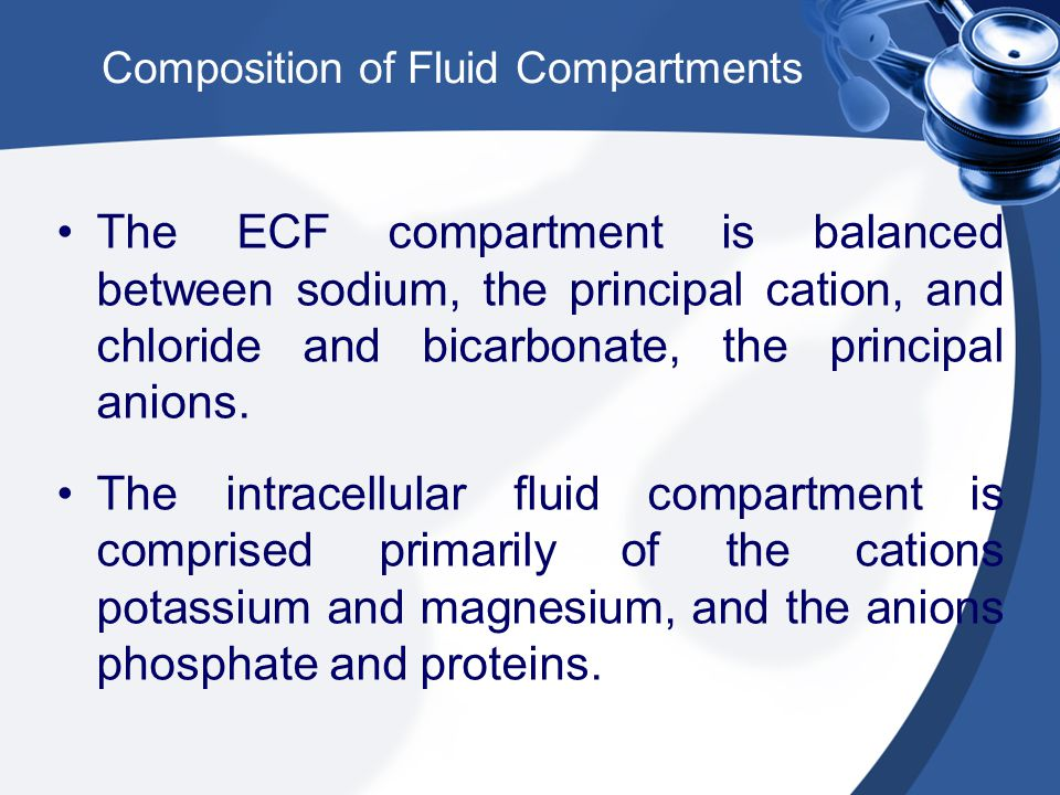 Composition of Fluid Compartments The ECF compartment is balanced between sodium, the principal cation, and chloride and bicarbonate, the principal anions.