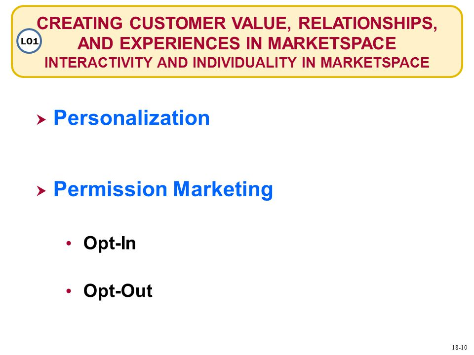 CREATING CUSTOMER VALUE, RELATIONSHIPS, AND EXPERIENCES IN MARKETSPACE INTERACTIVITY AND INDIVIDUALITY IN MARKETSPACE LO1  Personalization Personalization  Permission Marketing Permission Marketing Opt-Out Opt-In 18-10
