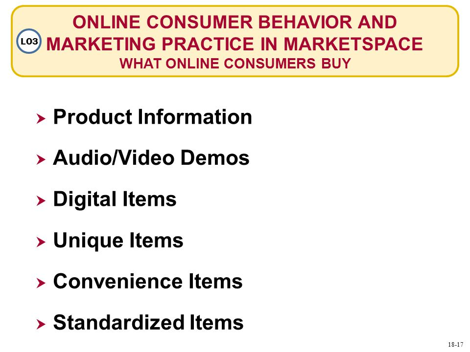 ONLINE CONSUMER BEHAVIOR AND MARKETING PRACTICE IN MARKETSPACE WHAT ONLINE CONSUMERS BUY LO3  Product Information  Audio/Video Demos  Digital Items  Unique Items  Convenience Items  Standardized Items 18-17