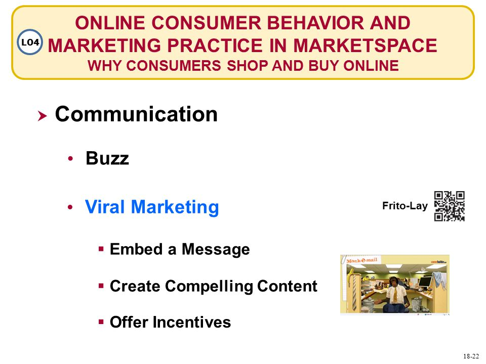 ONLINE CONSUMER BEHAVIOR AND MARKETING PRACTICE IN MARKETSPACE WHY CONSUMERS SHOP AND BUY ONLINE LO4  Communication Buzz Viral Marketing  Embed a Message  Create Compelling Content  Offer Incentives Frito-Lay 18-22
