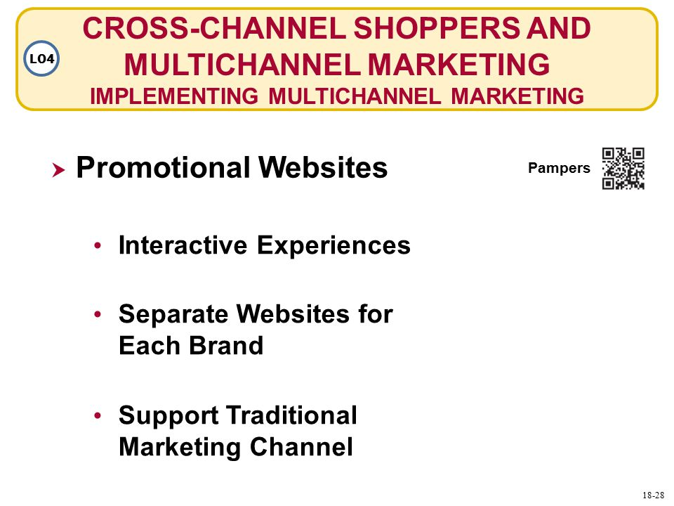 CROSS-CHANNEL SHOPPERS AND MULTICHANNEL MARKETING IMPLEMENTING MULTICHANNEL MARKETING Interactive Experiences  Promotional Websites Separate Websites for Each Brand Support Traditional Marketing Channel Pampers LO