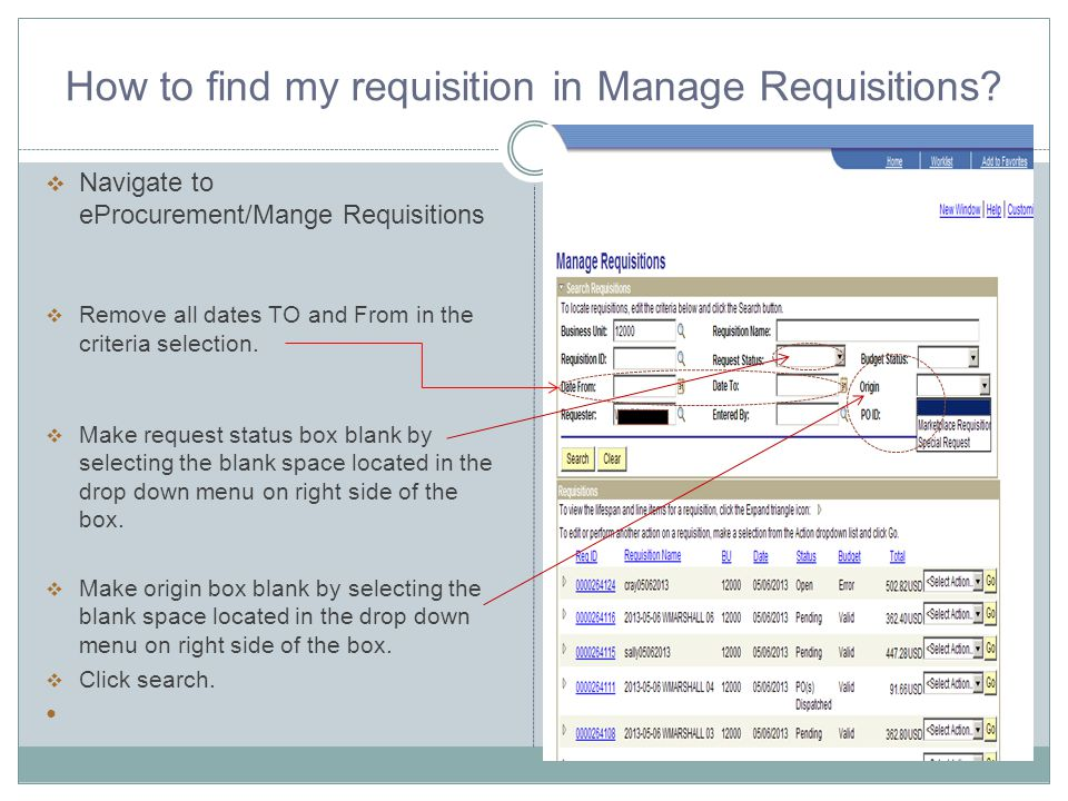 How to find my requisition in Manage Requisitions.
