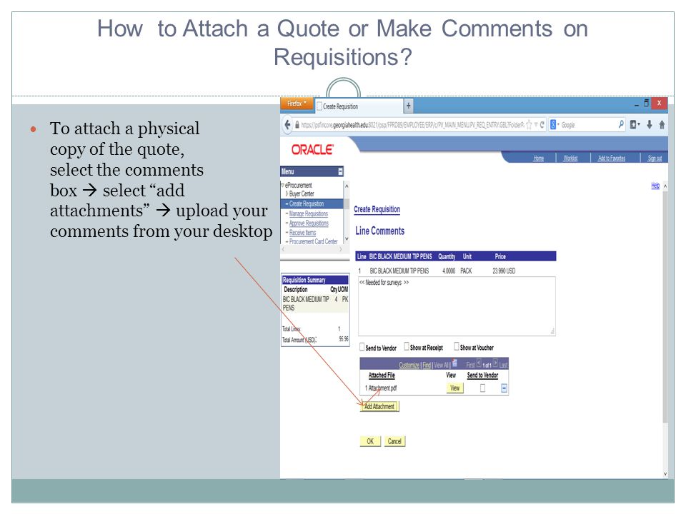 How to Attach a Quote or Make Comments on Requisitions.