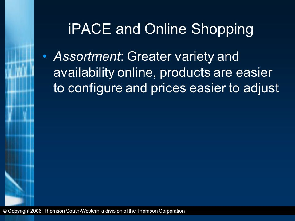 © Copyright 2006, Thomson South-Western, a division of the Thomson Corporation iPACE and Online Shopping Assortment: Greater variety and availability online, products are easier to configure and prices easier to adjust