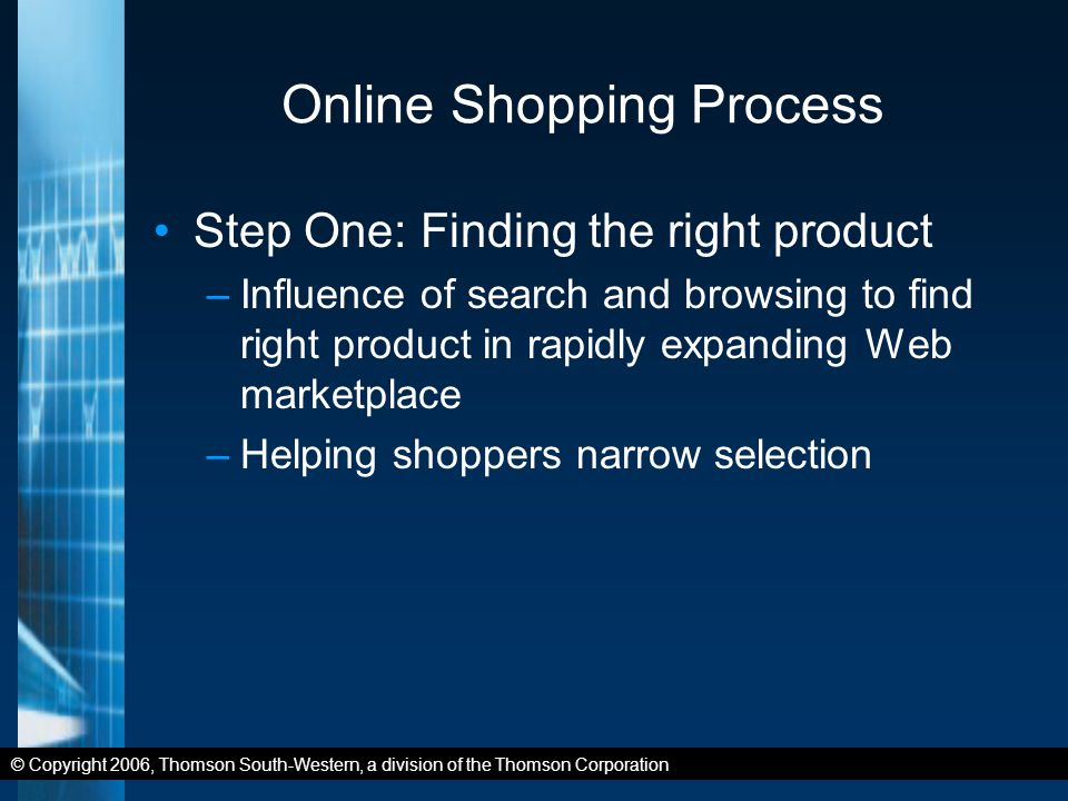 © Copyright 2006, Thomson South-Western, a division of the Thomson Corporation Online Shopping Process Step One: Finding the right product –Influence of search and browsing to find right product in rapidly expanding Web marketplace –Helping shoppers narrow selection