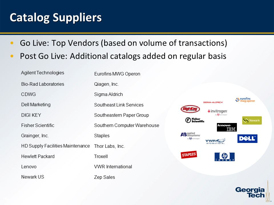 10 Go Live: Top Vendors (based on volume of transactions) Post Go Live: Additional catalogs added on regular basis Catalog Suppliers Agilent Technologies Bio-Rad Laboratories CDWG Dell Marketing DIGI KEY Fisher Scientific Grainger, Inc.