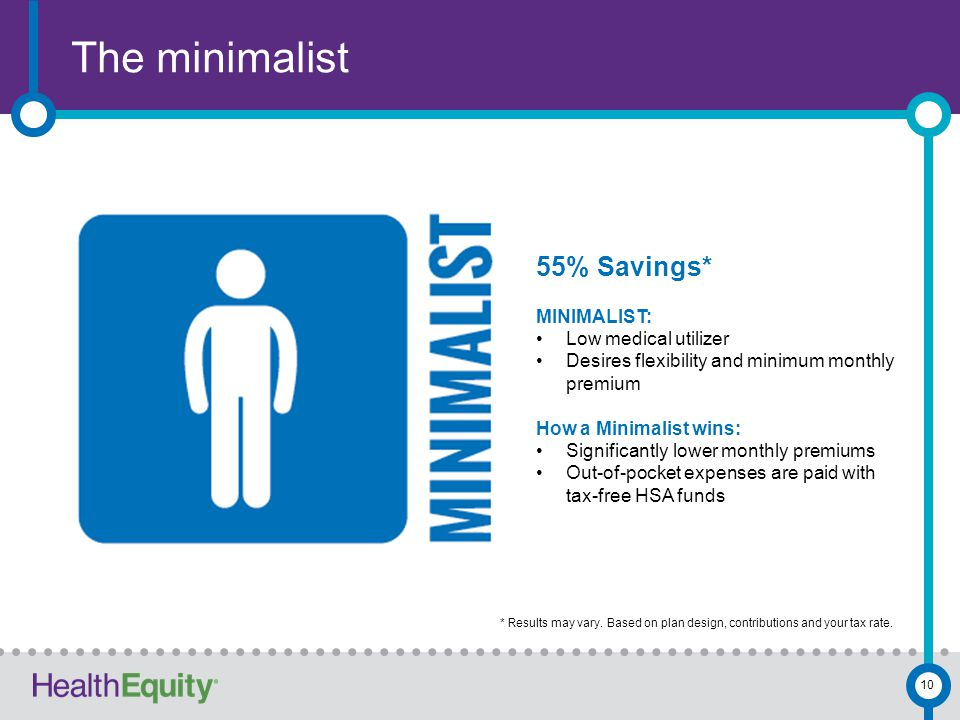 The minimalist 10 55% Savings* MINIMALIST: Low medical utilizer Desires flexibility and minimum monthly premium How a Minimalist wins: Significantly lower monthly premiums Out-of-pocket expenses are paid with tax-free HSA funds * Results may vary.