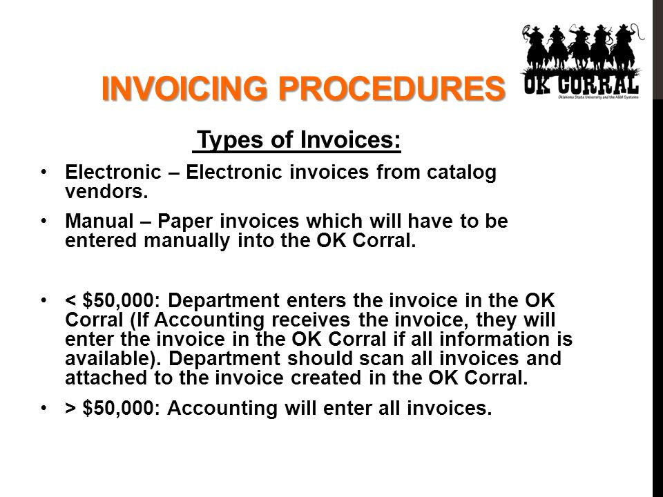 Types of Invoices: Electronic – Electronic invoices from catalog vendors.