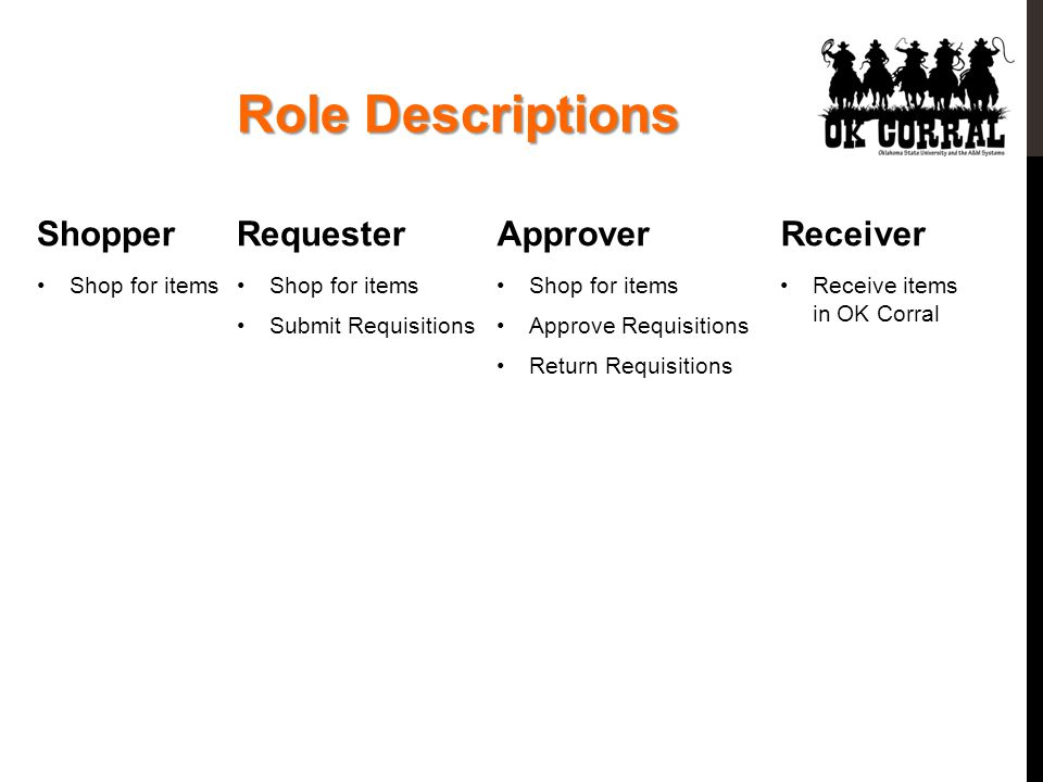 Role Descriptions Shopper Shop for items Requester Shop for items Submit Requisitions Approver Shop for items Approve Requisitions Return Requisitions Receiver Receive items in OK Corral