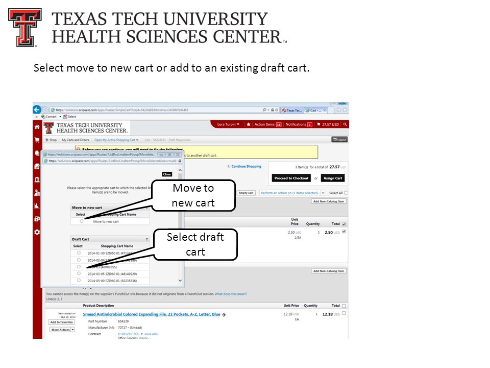 Select move to new cart or add to an existing draft cart. Move to new cart Select draft cart