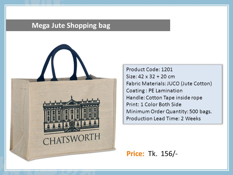89e6ffa05 Products Catalog. ECO FRIENDLY JUTE SHOPPING BAG Carbon Free ...