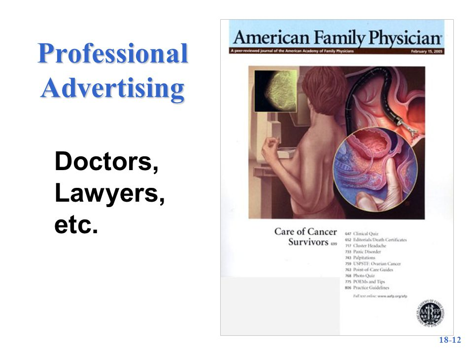 18-12 Professional Advertising Doctors, Lawyers, etc.