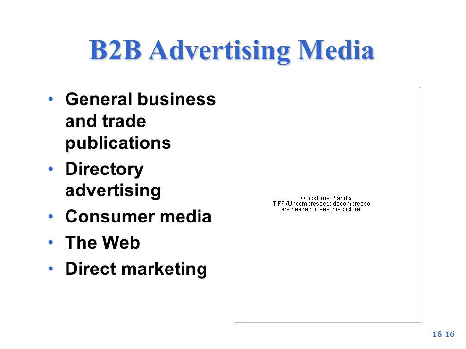 18-16 B2B Advertising Media General business and trade publications Directory advertising Consumer media The Web Direct marketing