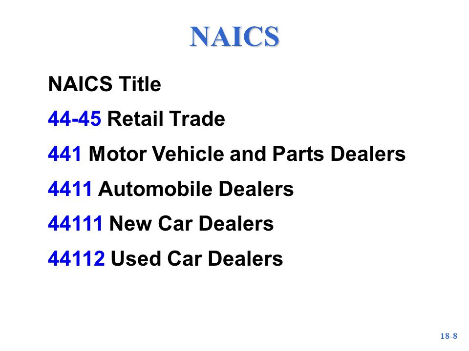 18-8 NAICS NAICS Title Retail Trade 441 Motor Vehicle and Parts Dealers 4411 Automobile Dealers New Car Dealers Used Car Dealers