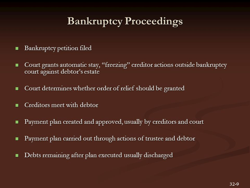 Bankruptcy Proceedings Bankruptcy petition filed Bankruptcy petition filed Court grants automatic stay, freezing creditor actions outside bankruptcy court against debtor's estate Court grants automatic stay, freezing creditor actions outside bankruptcy court against debtor's estate Court determines whether order of relief should be granted Court determines whether order of relief should be granted Creditors meet with debtor Creditors meet with debtor Payment plan created and approved, usually by creditors and court Payment plan created and approved, usually by creditors and court Payment plan carried out through actions of trustee and debtor Payment plan carried out through actions of trustee and debtor Debts remaining after plan executed usually discharged Debts remaining after plan executed usually discharged 32-9