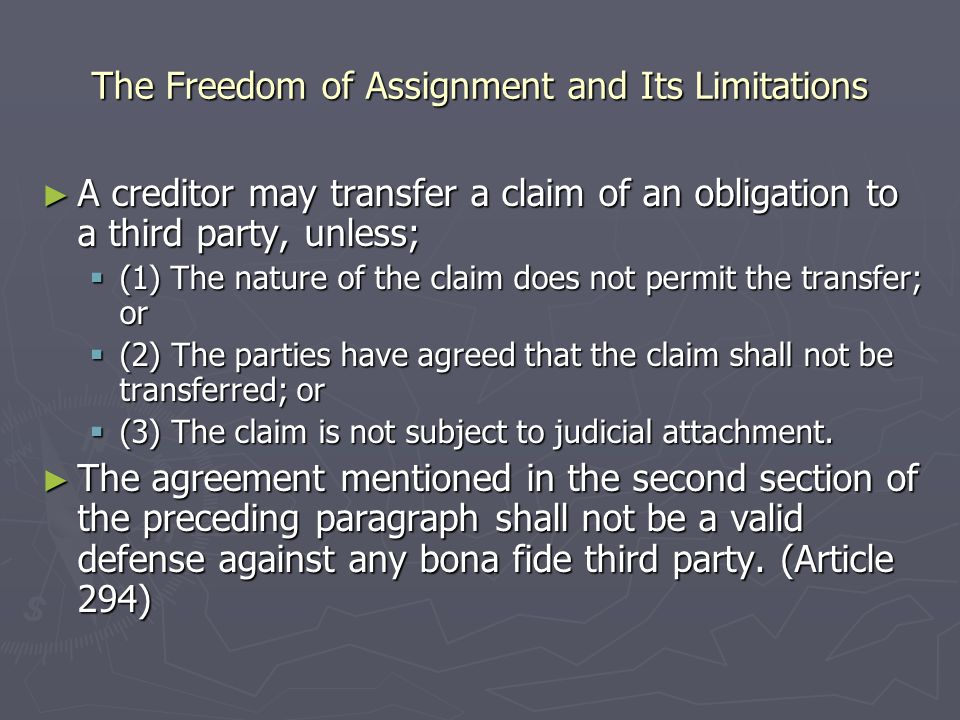 Assignment And Delegation The Freedom To Assign A Creditors Right