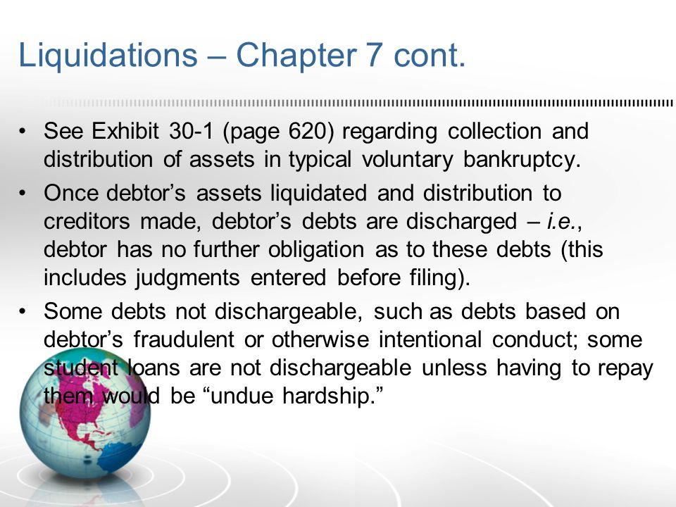 Liquidations – Chapter 7 cont.