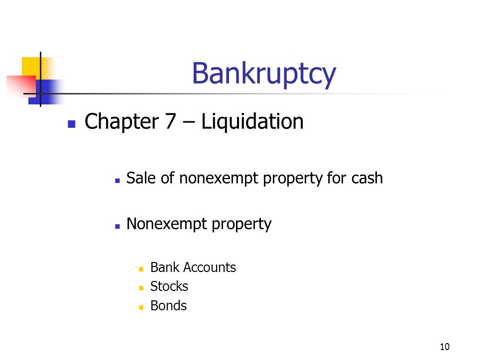 10 Bankruptcy Chapter 7 – Liquidation Sale of nonexempt property for cash Nonexempt property Bank Accounts Stocks Bonds