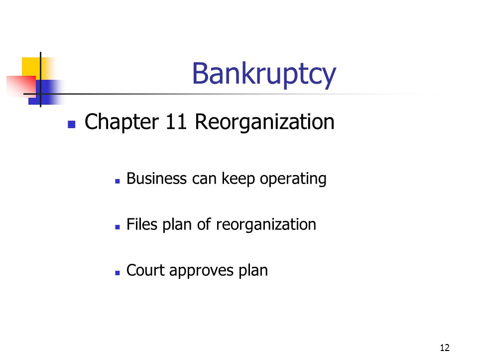 12 Chapter 11 Reorganization Business can keep operating Files plan of reorganization Court approves plan Bankruptcy