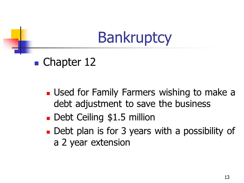 13 Bankruptcy Chapter 12 Used for Family Farmers wishing to make a debt adjustment to save the business Debt Ceiling $1.5 million Debt plan is for 3 years with a possibility of a 2 year extension