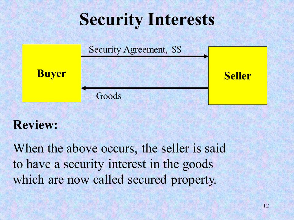 12 Security Interests Buyer Seller Security Agreement, $$ Goods Review: When the above occurs, the seller is said to have a security interest in the goods which are now called secured property.